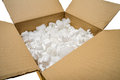 A Cardboard Box with Fill Packaging Peanuts Stock Image