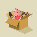Cardboard box filled with garden tools Royalty Free Stock Photo