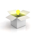 Cardboard box with lit light bulb Stock Images