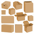Cardboard box mockup set, realistic style Royalty Free Stock Photo