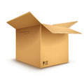 Cardboard box opened empty on transparent white background eps vector illustration Stock Photo