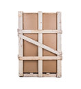 Cardboard box with a reinforcement of wood transport boxes wooden Royalty Free Stock Images
