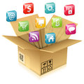 Cardboard Box with Set of Icons Royalty Free Stock Photo