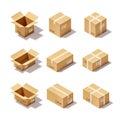 Cardboard Box Set Royalty Free Stock Photo