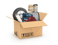 Cardboard boxe with books bag weel and clothes relocation moving concept Royalty Free Stock Photography