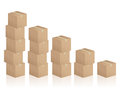 Cardboard boxes diagram formed by on white background Stock Photo
