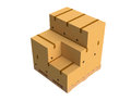 Cardboard boxes on a pallet over a white background Royalty Free Stock Image