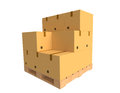 Cardboard boxes on a pallet over a white background Stock Image
