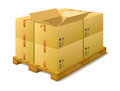 Cardboard boxes on a pallet in stock warehouse white background Royalty Free Stock Photography