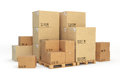 Cardboard boxes on a pallet on white background d Royalty Free Stock Photo