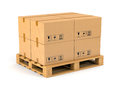 Cardboard boxes on pallet wooden isolated white background warehouse shipping cargo and delivery concept Stock Image