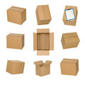 Cardboard boxes set isolated on white background. Royalty Free Stock Photo