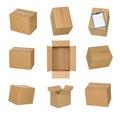Cardboard boxes set isolated on white background. Royalty Free Stock Photo