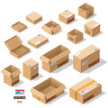 Cardboard boxes set Royalty Free Stock Photo