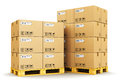 Cardboard boxes on shipping pallets Royalty Free Stock Photo