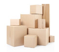 Cardboard boxes stack isolated on white clipping path Stock Image