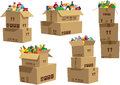 Cardboard Boxes Stacked With G...