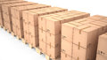 Cardboard boxes on wooden pallets (3d illustration) Royalty Free Stock Photo