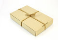 Cardboard carton wrapped with brown paper and tied with cord Royalty Free Stock Photo