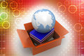 Cardboard containing books and globe illustration in white area top angle view Stock Photos