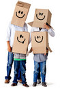 Cardboard family characters Royalty Free Stock Photography