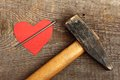 Cardboard heart red with big nail on wooden background Stock Images