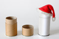 Cardboard packages in christmas spirit time for pipe and cap with santa hat Royalty Free Stock Photography