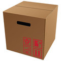 Cardboard packaging with symbols Royalty Free Stock Image
