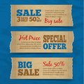 Cardboard sale banners set of paper hot price special offer with blue background vector illustration Stock Photos