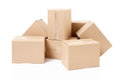 Cardboard small boxes on white clipping path included Stock Photos