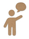 Cardboard symbol man with message cloud Stock Images