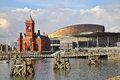 Cardiff bay senedd millenium centre pierhead building wales capitol city welsh parliament building bay Stock Photo