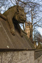 Cardiff castle the walls of hyena statue wales uk Stock Photos