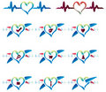 Cardio emblem icons set website Royalty Free Stock Image