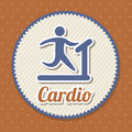 Cardio sign over red background vector illustration Stock Photos