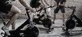 Cardio training on bicycle Royalty Free Stock Photo