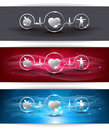 Cardiocascular health care concept healthy food and fitness leads to healthy heart symbols connected with heart rate monitoring Royalty Free Stock Photography