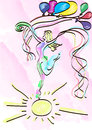 abstract girl dancing on sun Royalty Free Stock Photo