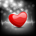 Cardiogram with red heart shape Stock Images