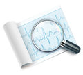 Cardiogram vector illustration of under magnifying glass Stock Images