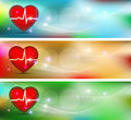 Cardiology banners human heart health care conceptual beautiful bright designs Stock Photo
