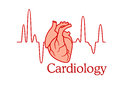 Cardiology concept with an ecg and heart tracing of the beat in a healthcare medical Royalty Free Stock Photos