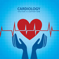 Cardiology design over blue background illustration Stock Photos