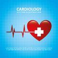 Cardiology design over blue background illustration Royalty Free Stock Photography