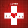Cardiology design over red background vector illustration Royalty Free Stock Photo