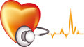 Cardiology sign abstract with heart stethoscope and ecg readout white background Stock Photos