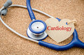 CARDIOLOGY words and stethoscope.