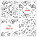 Cards, banners with hand drawn sketch vegetable, mushrooms, olive, peppers, onion on white, vector seamless