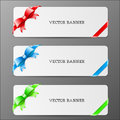 Cards with bow and ribbon in red green and blue co colors eps Stock Photography