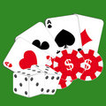 Cards, chips and dice on green background Royalty Free Stock Photography